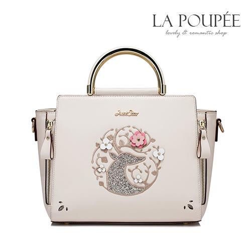 手提包 奇幻花鹿精緻亮片刺繡方包 氣質米白-La Poupee樂芙比質感包飾 (現貨)