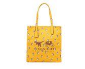 COACH  F25737 女包單肩包女斜挎女款帆布手提包黃色購物袋