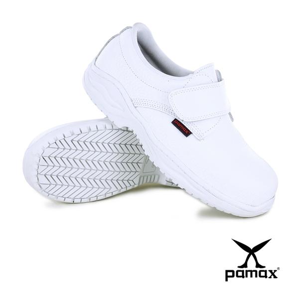 PAMAX 帕瑪斯【皮革製安全鞋】寬楦鋼頭-黏貼式白色安全鞋-專利止滑橡膠大底-PA11309FEH-男女