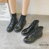 機車馬丁靴女英倫風漆皮粗跟短靴高筒靴子【時尚大衣櫥】