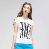 TOP GIRL- 印花燙鑽圓領T恤-白