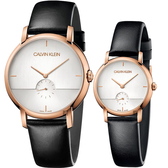 Calvin Klein CK Established 小秒針情侶手錶 對錶-玫瑰金 K9H2X6C6+K9H2Y6C6