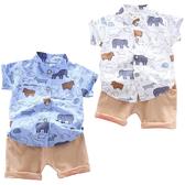 短袖套裝 卡通大象 短袖襯衫 卡其短褲 嬰幼兒套裝 短袖上衣 寶寶童裝 CK1759 好娃娃