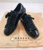 【雪曼國際精品】PRADA正品~亮皮黑色漆皮休閒鞋(8.8新)-二手商品