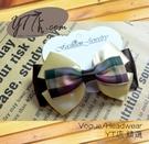 【YT店髮飾】獨特暗調格紋緞帶蝴蝶結髮夾/髮飾/頭飾/鯊魚夾(G025)