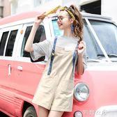 MG小象小清新闊腿吊帶褲女夏季新款韓版學生寬鬆短褲休閒褲子      芊惠衣屋