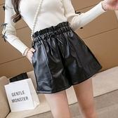 短褲休閒褲闊腿褲S-XL皮短褲鬆緊腰繫帶闊腿褲口袋寬鬆短褲T507A-8734.