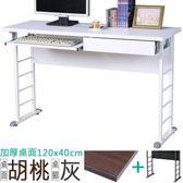 Homelike 查理120x40工作桌(加厚桌面-附抽屜.鍵盤架)桌面-胡桃/桌腳
