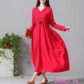 棉麻洋裝春秋新款大碼女裝文藝范寬鬆大擺長裙袍子氣質長袖棉麻連身裙 JUST M