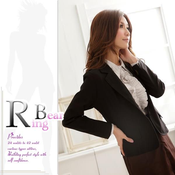 西裝外套--都會女性的自信感-基本款素面包釦雙口袋西裝外套(S-3L)-J113眼圈熊中大尺碼◎