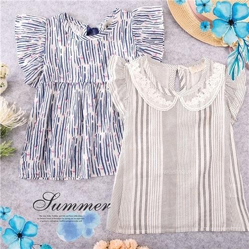 日系氣質風格-線條飛飛袖棉紗透氣涼爽短袖上衣-2款(290383)【水娃娃時尚童裝】