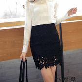 黑色鏤空蕾絲半身裙顯瘦包臀短裙女