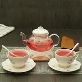 陶瓷花茶壺套裝煮水果茶壺茶杯保溫加厚耐高溫玻璃茶具加熱底座WY