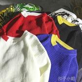 原宿風冬季毛衣男士韓版寬鬆套頭上衣潮流網紅chic打底針織衫 扣子小鋪