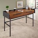 【森可家居】畢卡索4尺雙色二抽書桌 7JF361-2 LOFT 復古工業風