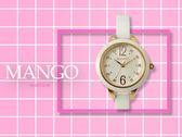 【時間道】MANGO 時尚活力晶鑽刻度腕錶 / 白貝面玫瑰金刻白陶 (MA6717L-80)免運費