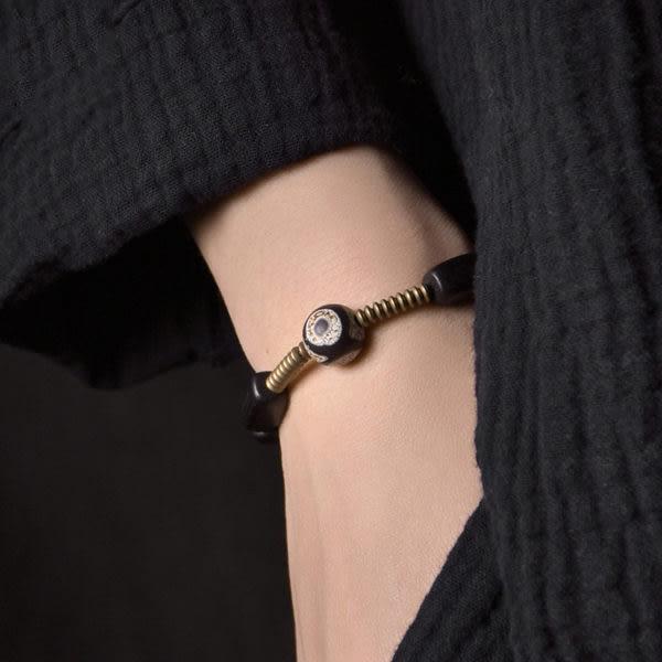 銅飾品黑檀木珠情侶版手鍊簡約民族風手串/設計家