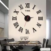 創意羅馬掛鐘客廳鐘表藝術時鐘現代裝飾鐘亞克力墻貼壁鐘靜音 QQ12157『bad boy時尚』