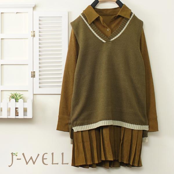 J-WELL 條絨百褶洋裝背心兩件組(2色) 9J1205