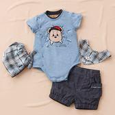 【金安德森】春夏彌月禮盒-帽子熊兔裝+牛仔短褲-水藍色