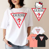 KUMO SHOES-現貨 GUESS x Hello Kitty PATTERN TRIANGLE LOGO TE 黑 白 凱蒂貓 聯名 倒三角 短T 男女可穿