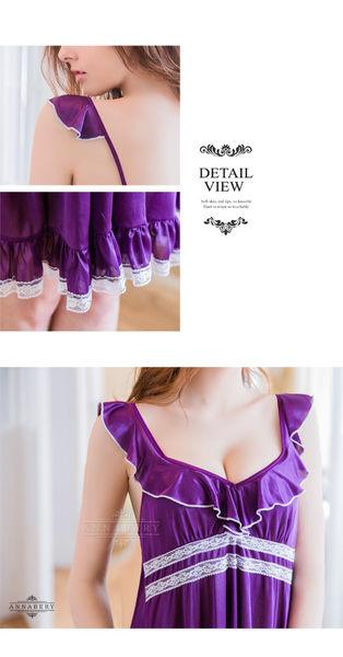 大尺碼 Annabery小蓋袖深紫浪漫柔緞二件式睡衣 (OS小舖)