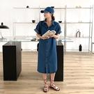 襯衫式牛仔洋裝連身裙【29-16-8L1886-20】ibella 艾貝拉