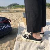 夏季新款韓版ins街拍原宿半拖一腳蹬低幫懶人學生帆布鞋女 街頭布衣