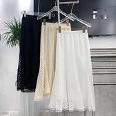 +I8968# 春蕾絲鏤空魚尾裙半身裙 &小咪的店&