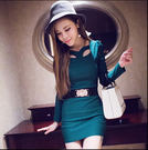 女生韓版性感蕾絲鏤空修身包臀打底裙DL8670『黑色妹妹』