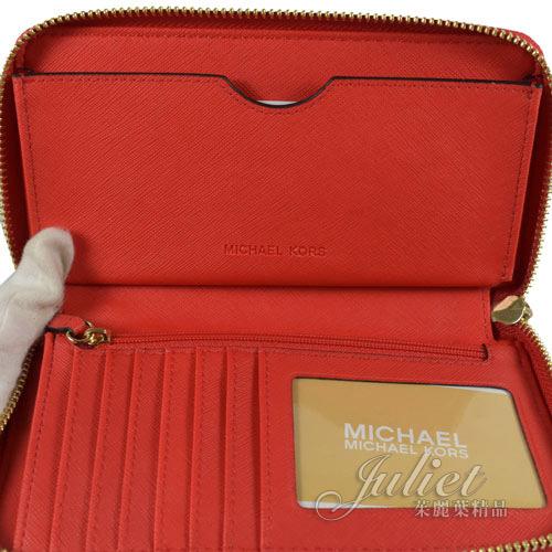 茱麗葉精品【均一價】MICHAEL KORS FULTON 圓形LOGO 牛皮 手提式拉鍊中夾.紅