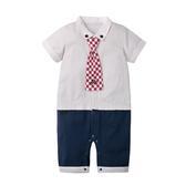 短袖連身衣 經典線條 方形領結 假兩件 男寶寶 爬服 哈衣 Augelute Baby 60288