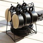 歐式下午茶陶瓷家用咖啡杯帶碟勺杯架禮盒套裝簡約骨瓷馬克水杯子【全館限時88折】