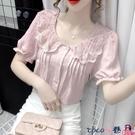 拼接襯衫 2021新款夏季娃娃領蕾絲拼接短袖襯衫女甜美小衫時尚洋氣百搭上衣【618 狂歡】