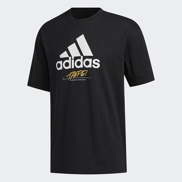 Adidas 男款黑色TAIPEI 城市短袖上衣-NO.GJ0293