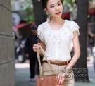 白襯衫女短袖荷葉邊雪紡上衣甜美打底衫韓范修身顯瘦娃娃領襯衣女