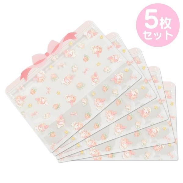 小禮堂 美樂蒂 造型透明夾鏈袋組 化妝品袋 口罩袋 飾品袋 分裝袋 (5入 粉 蝴蝶結) 4550337-40548