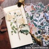 手帳裝飾素材 TN 大尺寸復古花朵植物圖鑒 40枚貼紙