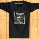 秋季男士長袖T恤 休閒男裝薄款加肥大碼印花靑中少年打底衫 安雅家居館