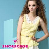 【SHOWCASE】V領甜美燒花蕾絲縫鑽領飾上衣(黃)