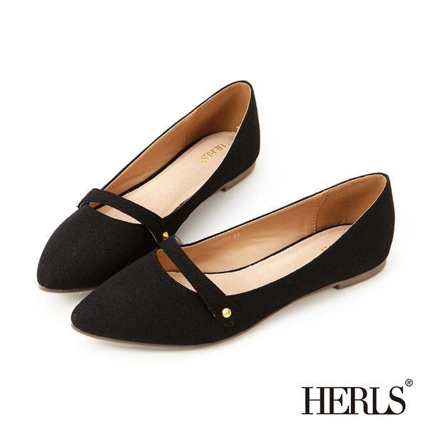 樂福鞋-HERLS 內真皮 英倫絨布樂福鞋-黑色