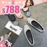 任選2雙788圓頭娃娃鞋質感女鞋滿版小鑽氣質甜美圓頭娃娃鞋【02S9216】