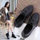 黑色英倫風秋冬季平跟2019新款復古單鞋鞋子女鞋加絨小皮鞋布洛克【果果新品】