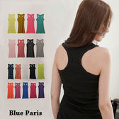 藍色巴黎 ★ 休閒百搭羅紋棉長版挖背背心 無袖上衣《13色》【11946】