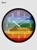 HICAT歐式創意木大號靜音掛鐘現代時尚客廳個性臥室石英時鐘錶