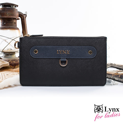 Lynx - 山貓知性名媛真皮系列多夾層長夾手拿包-共2色