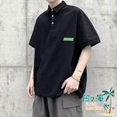 短袖Polo衫 貼布純色短袖POLO衫T恤男加肥加大碼潮胖子寬鬆體翻領夏季裝簡約【風之海】