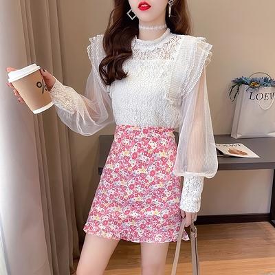 短袖套裝~7170#2021春新款清新甜美減齡蕾絲碎花木耳邊半身裙兩件套H311-E胖妞衣櫥