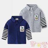 假兩件男童polo衫寶寶恐龍上衣兒童T恤長袖春秋【聚可愛】