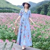 棉麻洋裝 民族風復古盤扣碎花棉麻連身裙女夏季年寬鬆顯瘦大擺長裙 唯伊時尚